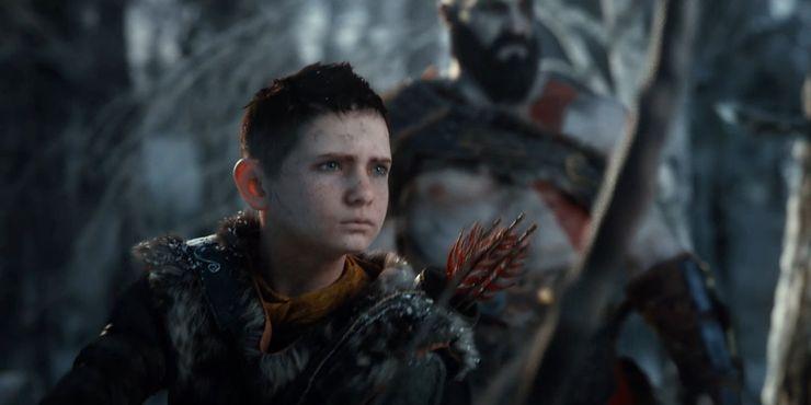 Wizerunek Atreusa z Kratosem w tle.