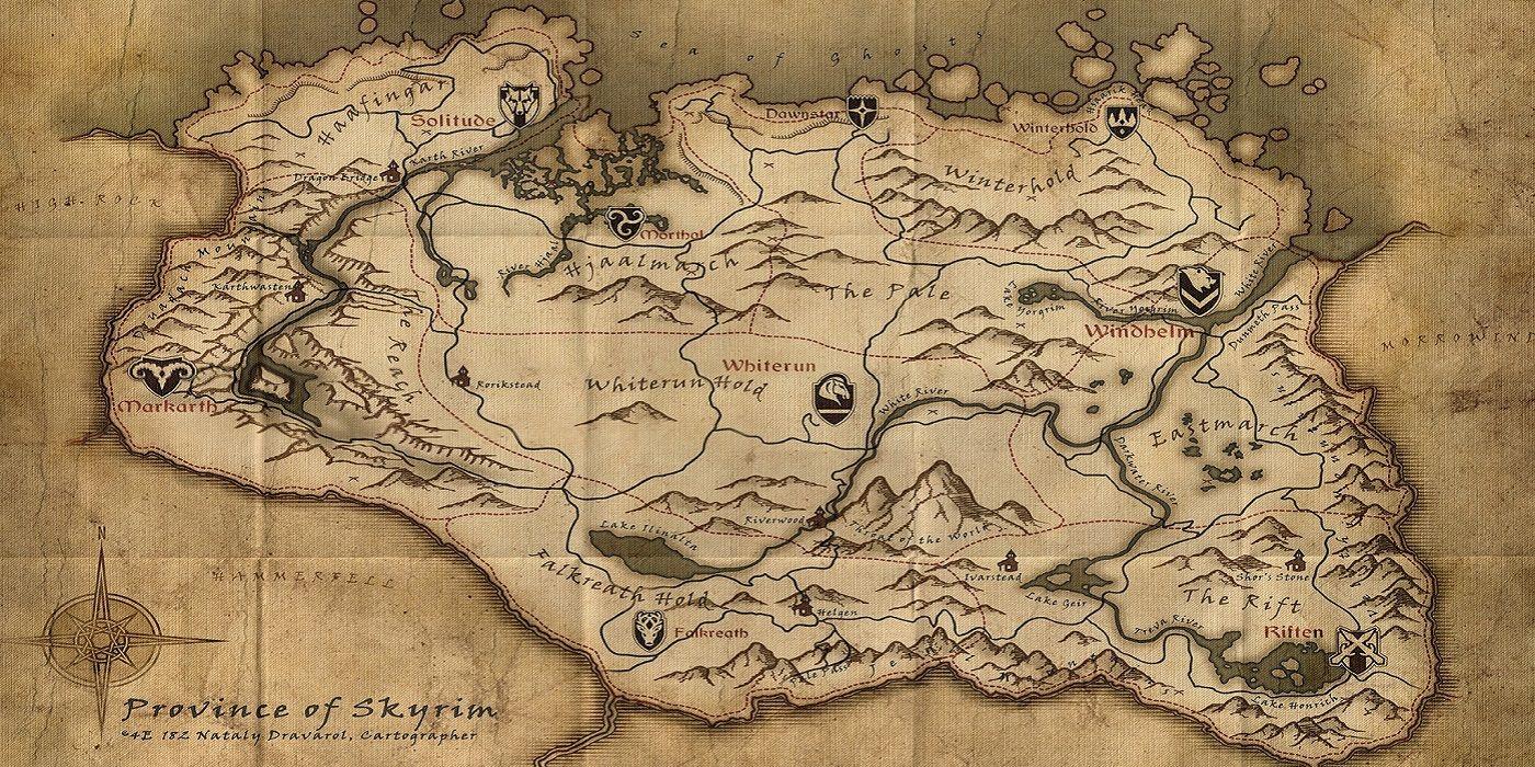 Elder Scrolls Fan Finds Framed Skyrim Map at Secondhand Store