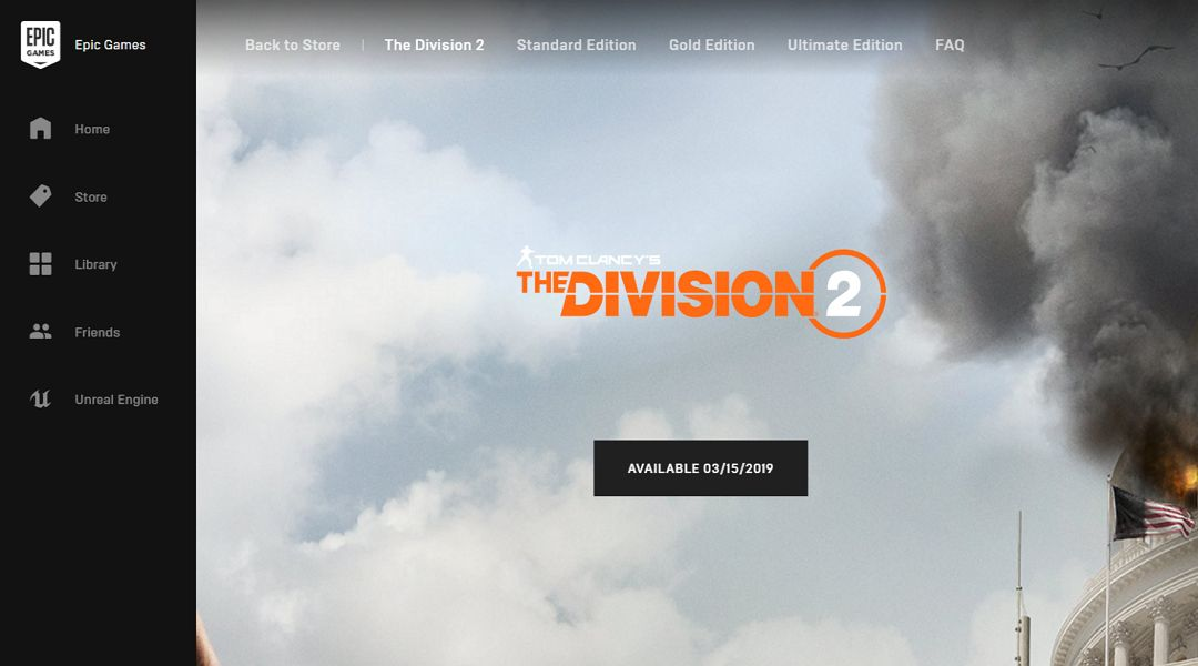 The Division 2 Opts for the Epic Games Store Over Steam